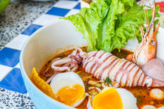Seafood noodles spicy Royalty Free Stock Photo