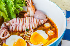 Seafood noodles spicy Royalty Free Stock Image
