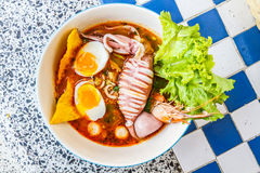 Seafood noodles spicy Stock Photos