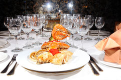 Seafood On Luxury Restaurant Royalty Free Stock Photography