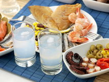 Seafood and ouzo royalty free stock photos