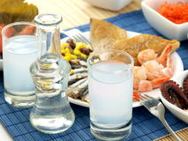 Seafood and ouzo Royalty Free Stock Photography