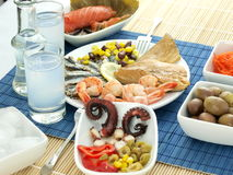 Seafood and ouzo Royalty Free Stock Images