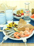 Seafood and ouzo Royalty Free Stock Photo