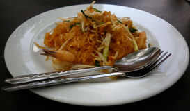 Seafood Pad Thai. Dish of stir-fried rice noodles Royalty Free Stock Photography