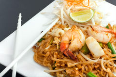 Seafood Pad Thai Fried Rice Noodles Stock Image