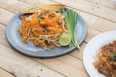 Seafood pad thai royalty free stock image