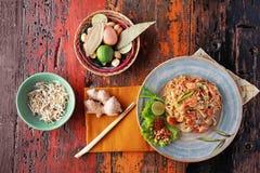 Seafood pad thai stock photos