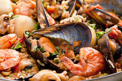 Seafood Paella. With mussels and prawns Royalty Free Stock Image