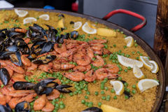 Seafood Paella at Borough Market in London, UK Royalty Free Stock Photo