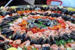 Seafood Paella. Close-up of Seafood Paella in a Paella Pan Stock Photos