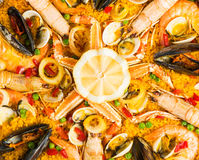 Seafood paella,  closeup shot Stock Photography