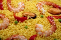 Seafood paella detail Stock Images
