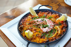 Seafood paella in fry pan Stock Photography