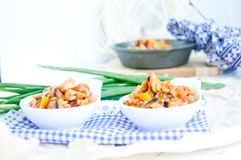 Seafood paella in the fry pan Stock Photos
