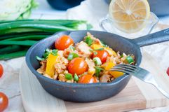 Seafood paella in the fry pan Stock Photography