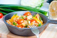 Seafood paella in the fry pan Stock Images