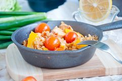 Seafood paella in the fry pan Royalty Free Stock Images