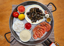 Seafood paella ingredients from Spain Royalty Free Stock Images