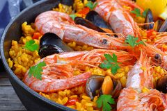 Seafood paella with king prawns, mussels Royalty Free Stock Image