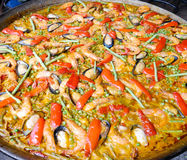 Seafood Paella in large frying pan Royalty Free Stock Photos