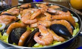 Seafood paella in a pan. Seafood paella in a paella pan.Spanish Stock Photo