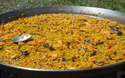 Seafood Paella Ready to Serve Royalty Free Stock Photography