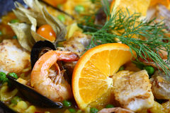 Seafood paella scampi. Paella scampi mussels shrimp food fish dinner Stock Photos