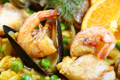 Seafood paella scampi mussels. Paella scampi mussels shrimp food fish dinner Royalty Free Stock Photography
