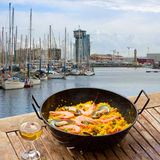 Seafood paella in seaside cafe, Barcelona Royalty Free Stock Image
