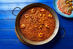 Seafood Paella senyoret rice from Spain Stock Photo
