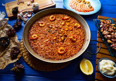 Seafood Paella senyoret rice from Spain Stock Images