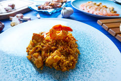 Seafood Paella senyoret rice from Spain Royalty Free Stock Images