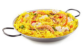 Seafood Paella Served in Metal Pan with Handles Stock Image