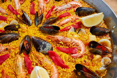 Seafood paella from Spain Valencia recipe Royalty Free Stock Photos