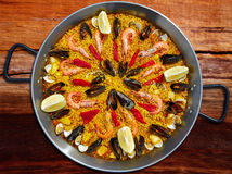 Seafood paella from Spain Valencia recipe Royalty Free Stock Image
