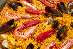 Seafood paella from Spain Valencia recipe Royalty Free Stock Photography
