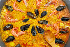 Seafood paella from Spain Valencia recipe Stock Photography