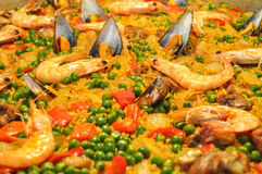 Seafood paella. With Spanish rice and seafood typical Stock Image