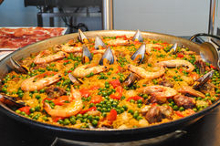 Seafood paella. With Spanish rice and seafood typical Stock Photo