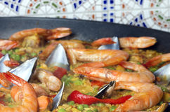 Seafood paella. Royalty Free Stock Images
