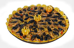 Seafood paella. On a white background Royalty Free Stock Photos