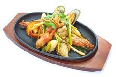 Seafood pan fried Stock Photo