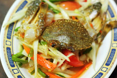 Seafood papaya salad on a plate Royalty Free Stock Images