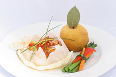 Seafood Papillote. Seafood in a parchment paper royalty free stock images