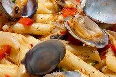 Seafood pasta. Macaroni served with spicy herbs and seafood Stock Images