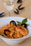 Seafood pasta Stock Photo