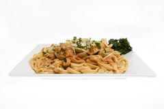 Seafood pasta against white Royalty Free Stock Photo