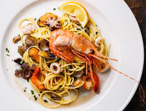 Seafood pasta close up Stock Photo