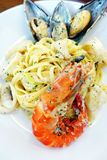 Seafood pasta dish, cream sauce Stock Images